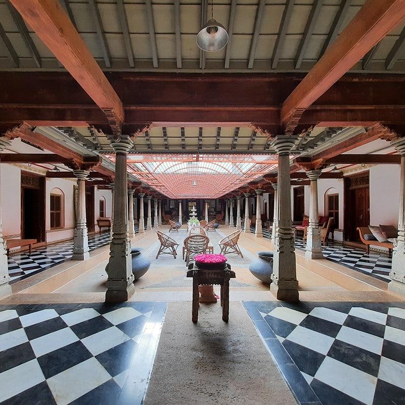 Cour principale hotel de charme Chettinad