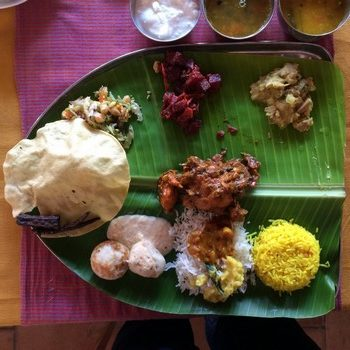 traditional lunch on the banana leaf