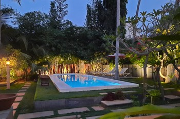 swimming pool in the coconut trees garden